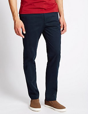 Slim Fit Pure Cotton Chinos, NAVY, catlanding
