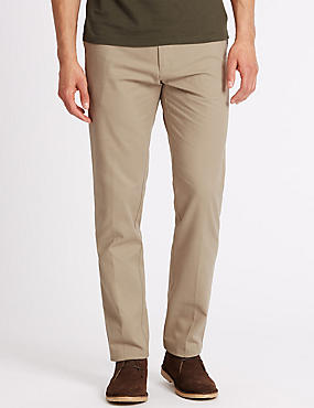 Slim Fit Pure Cotton Chinos, NATURAL, catlanding