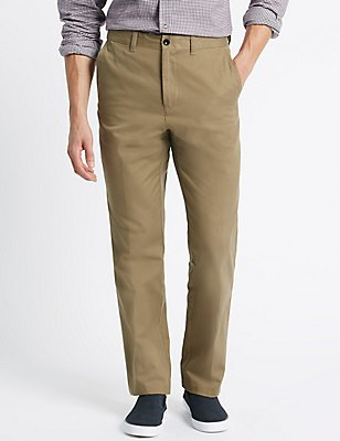 Pure Cotton Regular Fit Chinos, STONE, catlanding