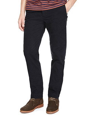 Pure Cotton Straight Fit Chinos, NAVY, catlanding