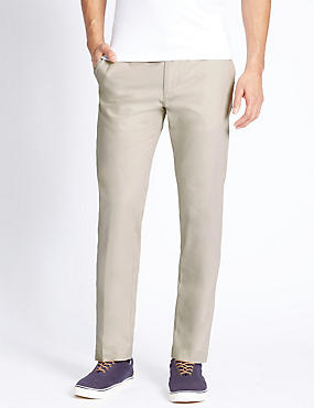 Straight Fit Pure Cotton Chinos, LIGHT STONE, catlanding
