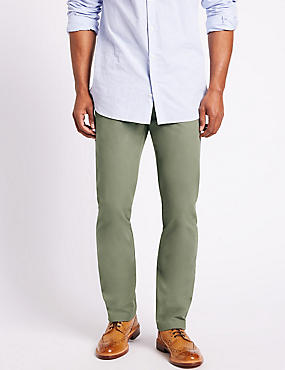 Straight Fit Pure Cotton Chinos, WASHED GREEN, catlanding