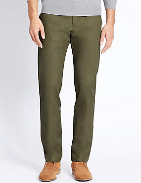 Straight Fit Pure Cotton Chinos, GREEN, catlanding