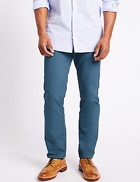 Slim Fit Pure Cotton Chinos  , AIR FORCE BLUE, catlanding