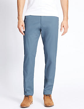 Slim Fit Pure Cotton Chinos, BLUE, catlanding