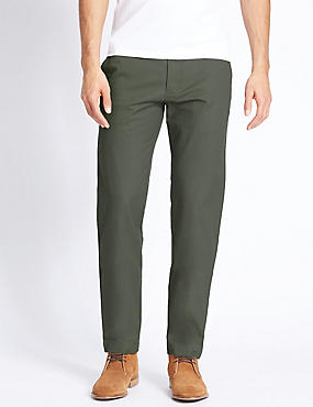 Slim Fit Pure Cotton Chinos, GREEN, catlanding