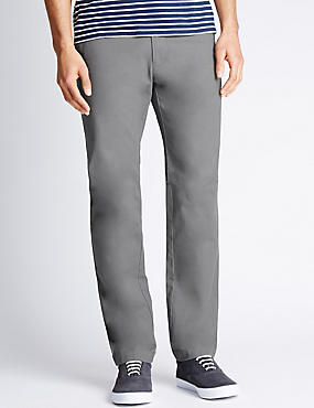 Slim Fit Pure Cotton Chinos  , MEDIUM GREY, catlanding