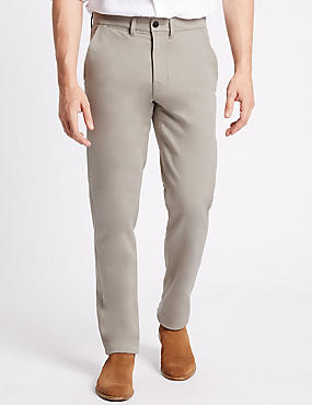 Slim Fit Cotton Rich Chinos with Stretch, LIGHT STONE, catlanding