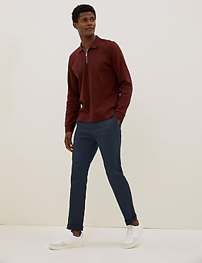 Slim Fit Cotton Rich Chinos with Stretch, NAVY, catlanding