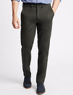 Slim Fit Cotton Rich Chinos with Stretch, GREEN, catlanding