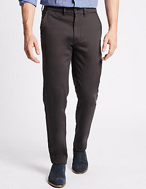 Slim Fit Cotton Rich Chinos with Stretch, GREY, catlanding