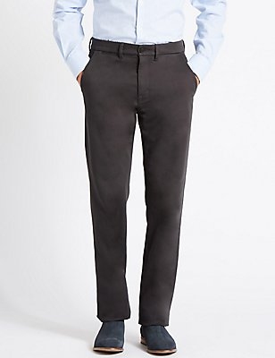 Straight Fit Cotton Trousers with Stretch, GREY, catlanding