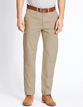 Straight Fit Pure Cotton Chinos, STONE, catlanding