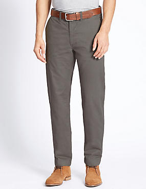 Straight Fit Pure Cotton Chinos, GREY, catlanding