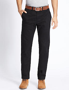 Straight Fit Pure Cotton Chinos, BLACK MIX, catlanding