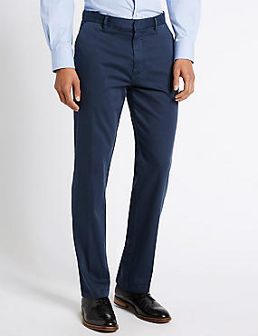 Cotton Rich Flat Front Chinos, BLUE, catlanding