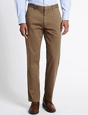 Cotton Rich Flat Front Chinos, CAMEL, catlanding