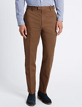 Slim Fit Pure Cotton Trousers with Stretch, TOBACCO, catlanding