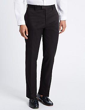 Slim Fit Pure Cotton Trousers with Stretch, BLACK MIX, catlanding