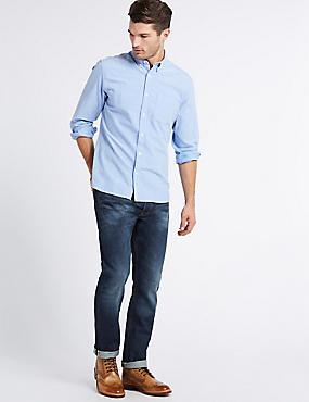 Schmal geschnittene Selvidge-Jeans, MITTELBLAU, catlanding