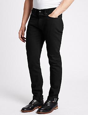 Zelfkanten jeans met slanke pasvorm, ZWART, catlanding