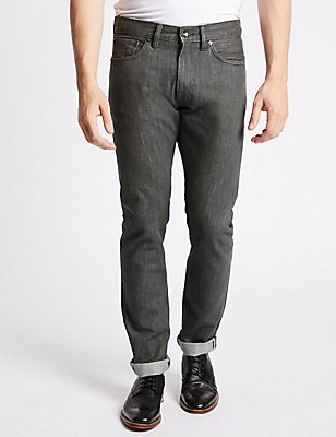Slim Fit Selvedge Jeans, CHARCOAL, catlanding