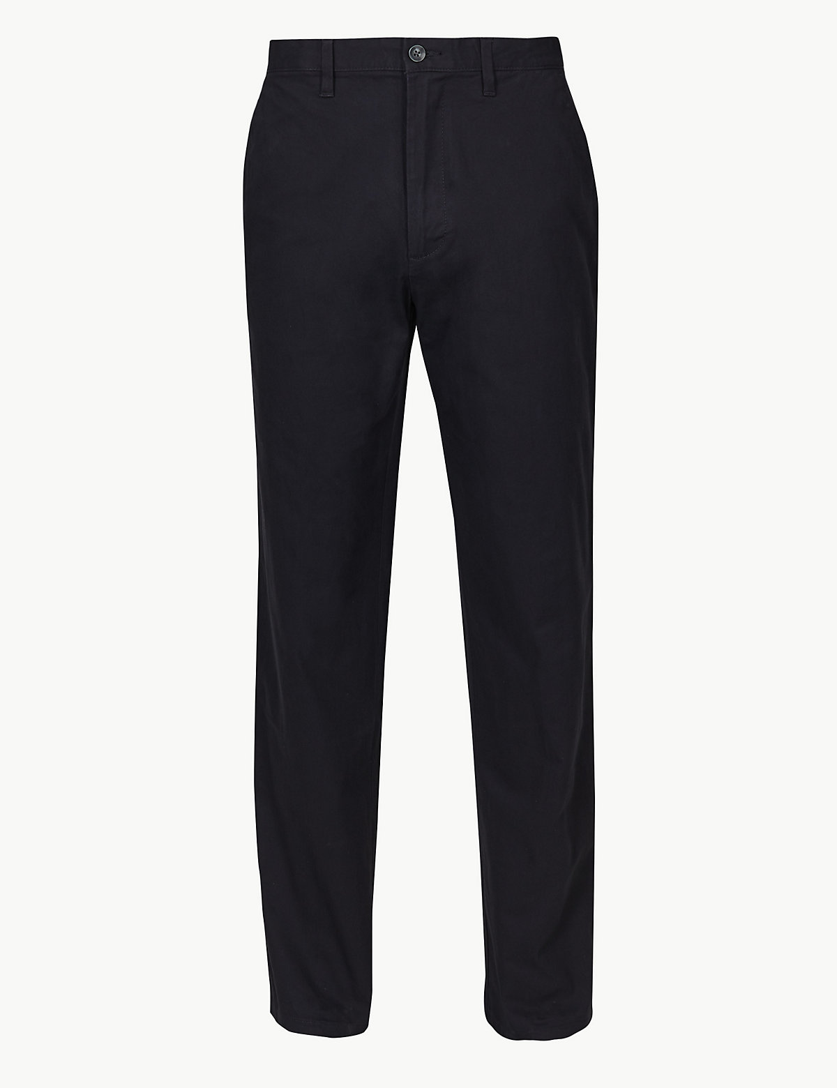 Классические хлопковые брюки чинос M&S Collection. Цвет: темно-синий