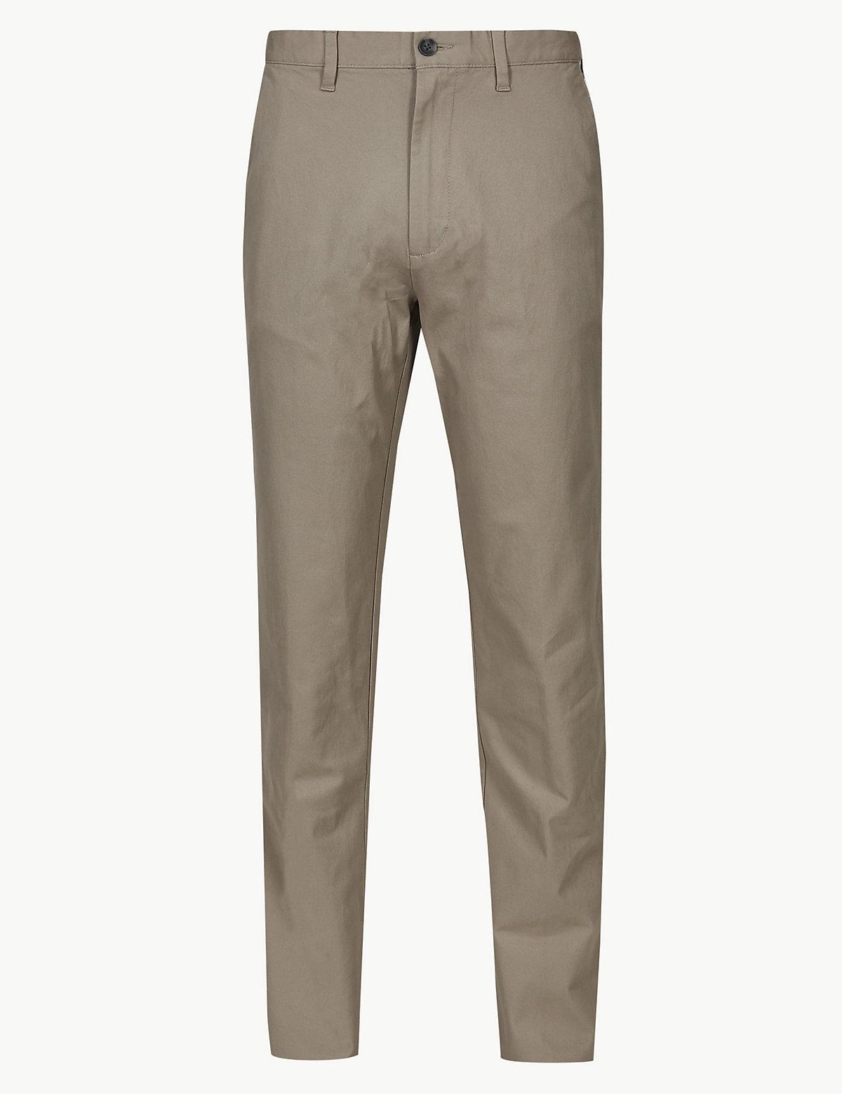 Классические хлопковые брюки чинос M&S Collection. Цвет: натуральный