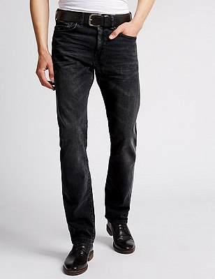 Washed Slim Fit Jeans with Belt, CHARCOAL, catlanding