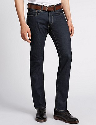 Rinse Washed Slim Leg Jeans with Belt, DARK INDIGO, catlanding