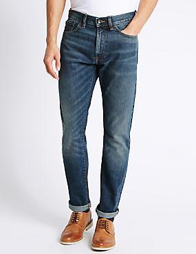 Schmal geschnittene Jeans im Washed-Look, MITTELBLAU, catlanding