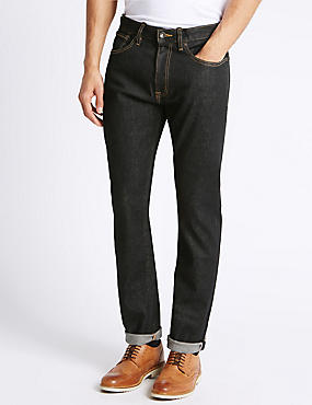 Slim Fit Selvedge Jeans, BLACK, catlanding