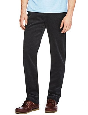 Pure Cotton Corduroy Trousers, NAVY, catlanding