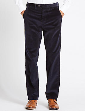 Regular Fit Super Soft Corduroy Trousers, NAVY, catlanding