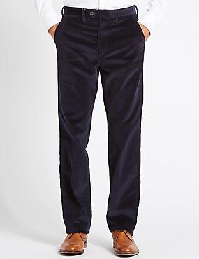 Regular Fit Super Soft Corduroy Trousers, NAVY, catlanding