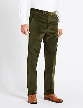 Regular Fit Super Soft Corduroy Trousers, FOREST GREEN, catlanding