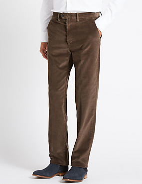 Regular Fit Super Soft Corduroy Trousers, BROWN, catlanding