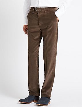 Regular Fit Super Soft Corduroy Trousers, BROWN, catlanding