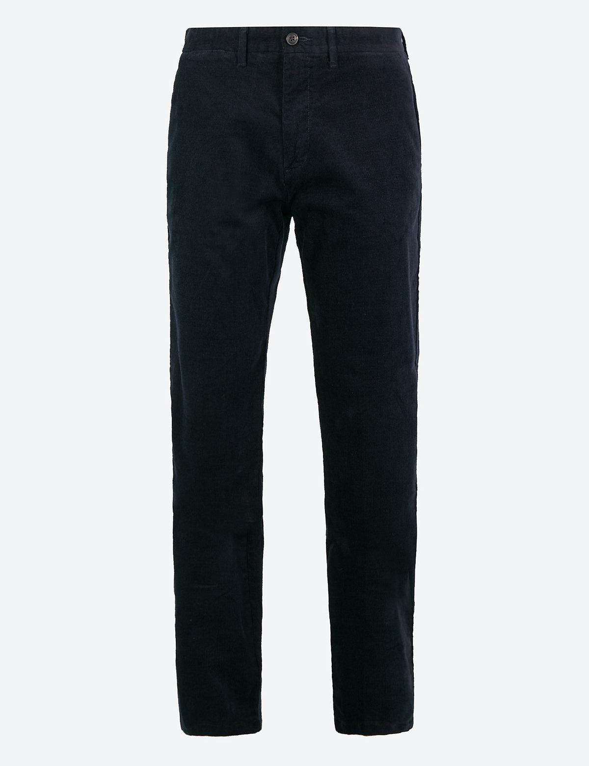 Классические вельветовые брюки M&S Collection. Цвет: темно-синий