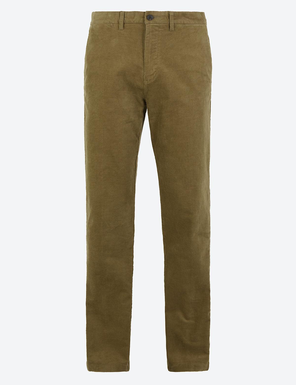 Классические вельветовые брюки M&S Collection. Цвет: темный песок