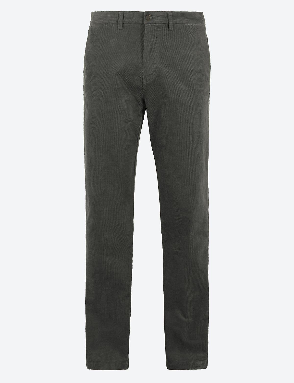 Классические вельветовые брюки M&S Collection. Цвет: серый