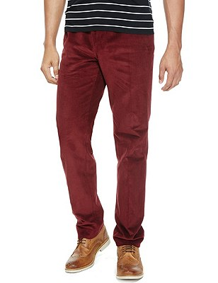 Cotton Rich Active Waist Flat Front Corduroy Trousers with Buttonsafe™, RED, catlanding