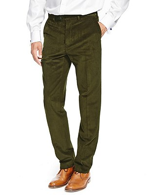 Cotton Rich Active Waist Flat Front Corduroy Trousers with Buttonsafe™, FOREST GREEN, catlanding