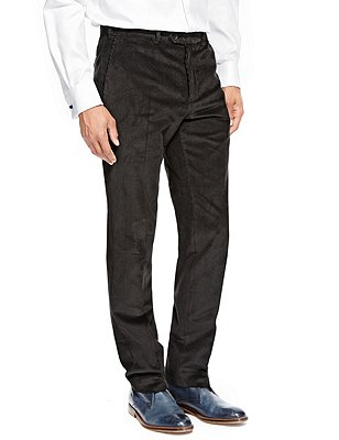 Cotton Rich Active Waist Flat Front Corduroy Trousers with Buttonsafe™, , catlanding