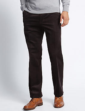 Tailored Fit Stretch Corduroy Trousers, AUBERGINE, catlanding