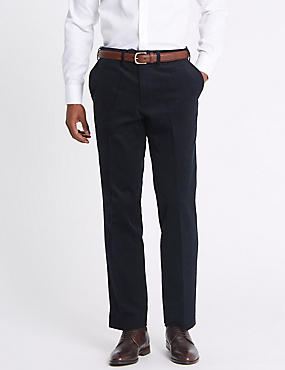 Tailored Fit Stretch Corduroy Trousers, NAVY, catlanding