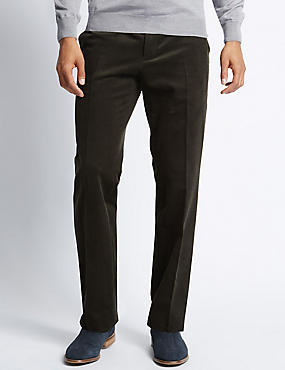 Tailored Fit Luxury Stretch Corduroy Trousers, DARK OLIVE, catlanding