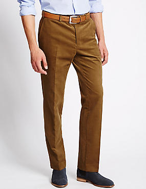 Tailored Fit Stretch Corduroy Trousers, CAMEL, catlanding