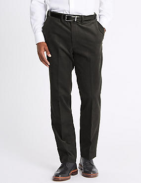 Tailored Fit Stretch Corduroy Trousers, GREY, catlanding