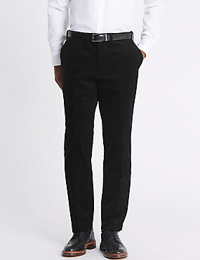 Tailored Fit Stretch Corduroy Trousers, BLACK, catlanding